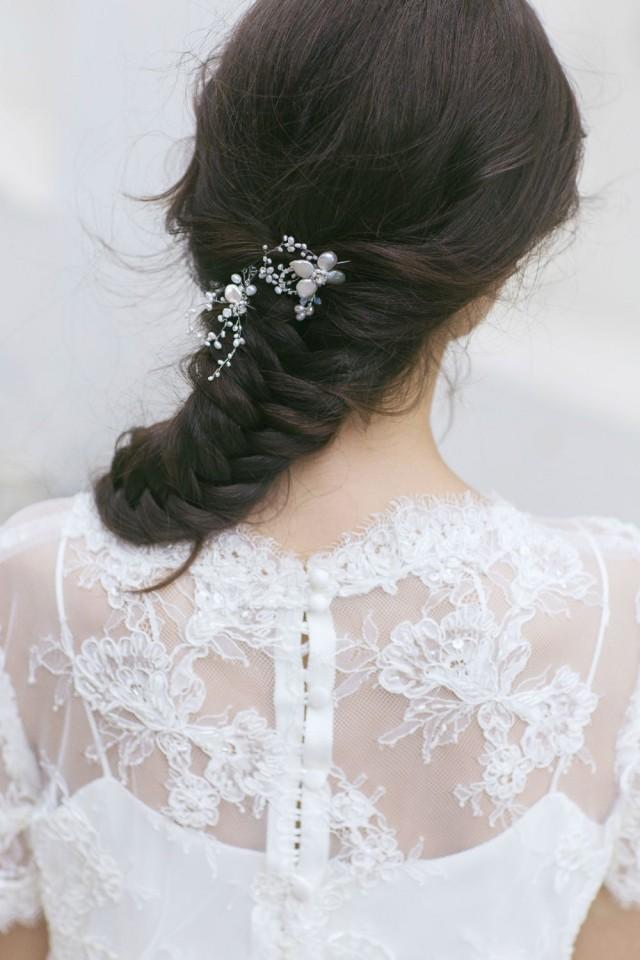 wedding photo - Wedding Hair Pins, Bridal Hair Pins, Wedding Hair Accessories,  Pearl Hair  Pins, Ivory Pearl Hair Pins ,Petite Floral  Pins