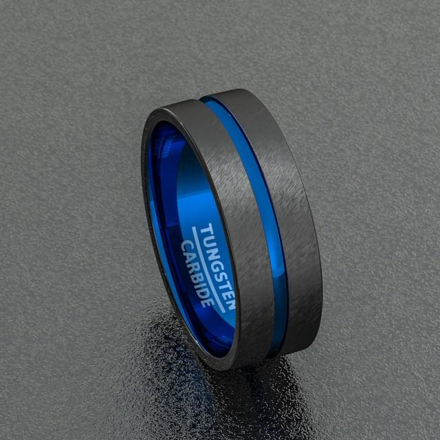 tungsten wedding band two tone 8mm black mens ring center blue groove flat edge comfort fit. Black Bedroom Furniture Sets. Home Design Ideas