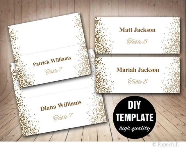 Printable placecards place cards wedding gold wedding for Templates for place cards for weddings