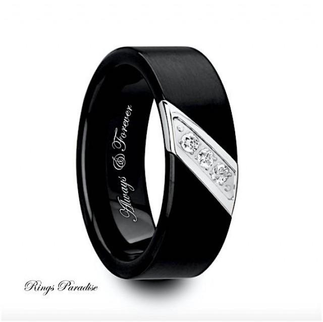 Mens Wedding Bands Engagement Ring Black Tungsten Ring Ring Band Tungste