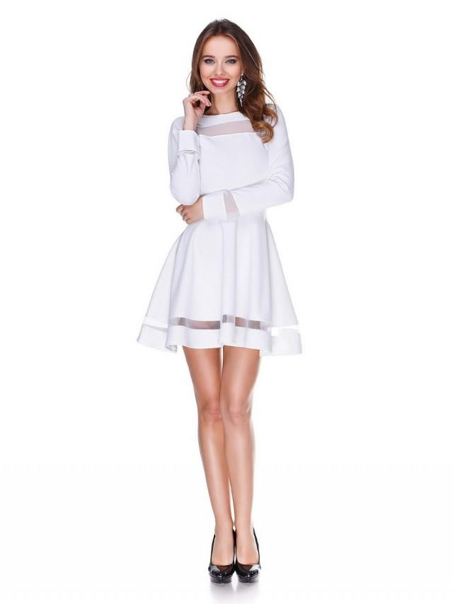 White wedding dress bridesmaid short flared dress cute for Cute white wedding dresses
