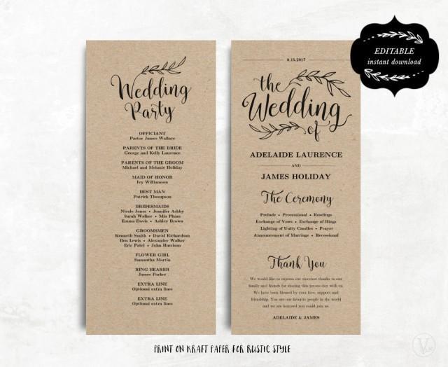 printable wedding program template kraft paper program diy wedding program editable text 4. Black Bedroom Furniture Sets. Home Design Ideas
