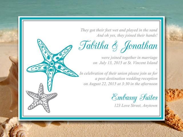 Beach wedding reception invitation template quot blissful starfish quot post