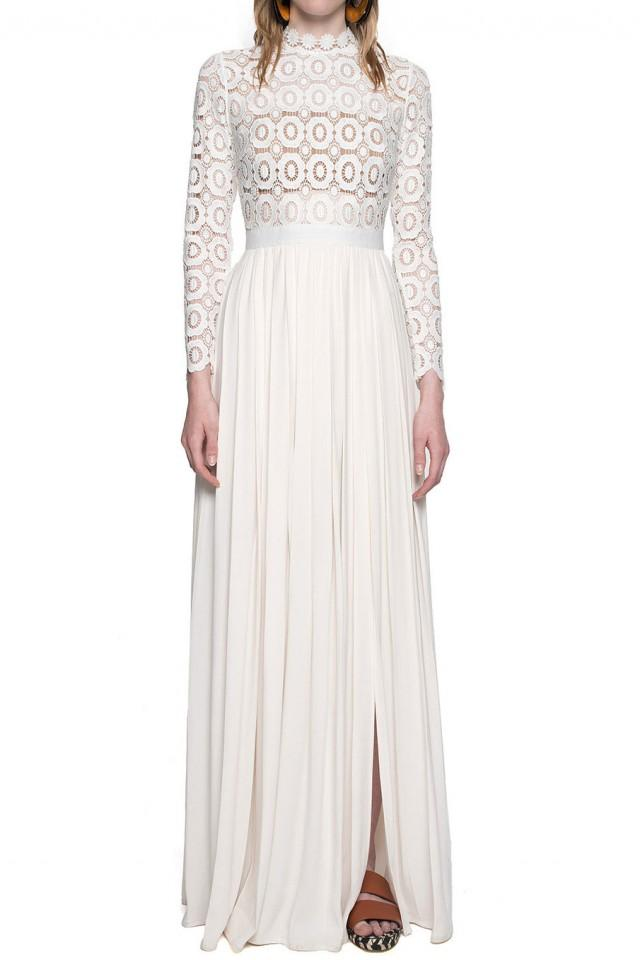f65f3d137223 wedding photo - Self Portrait Pleated Crochet Floral Maxi Dress Off White