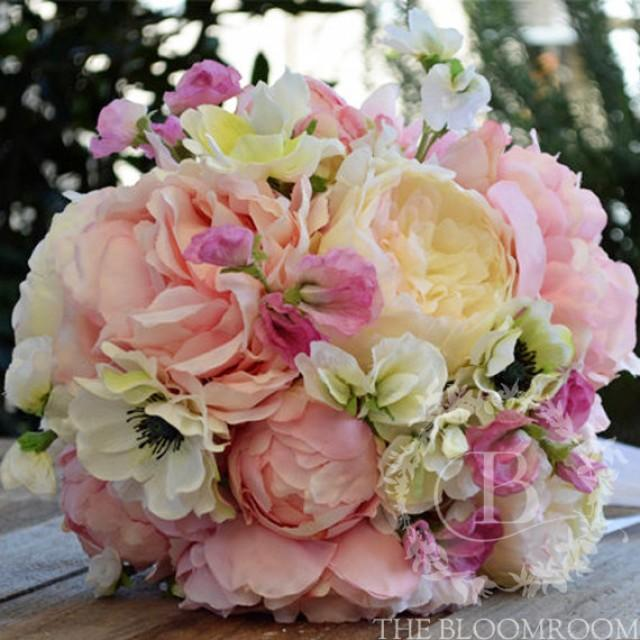 Bridal Bouquet Silk Flowers Handmade Pink Peony White Cabbage Rose White Anemone Pink