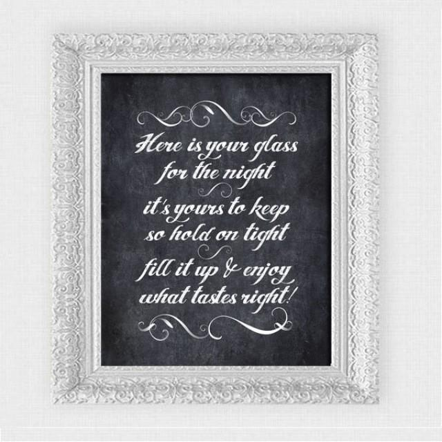here is your glass for the night chalkboard sign