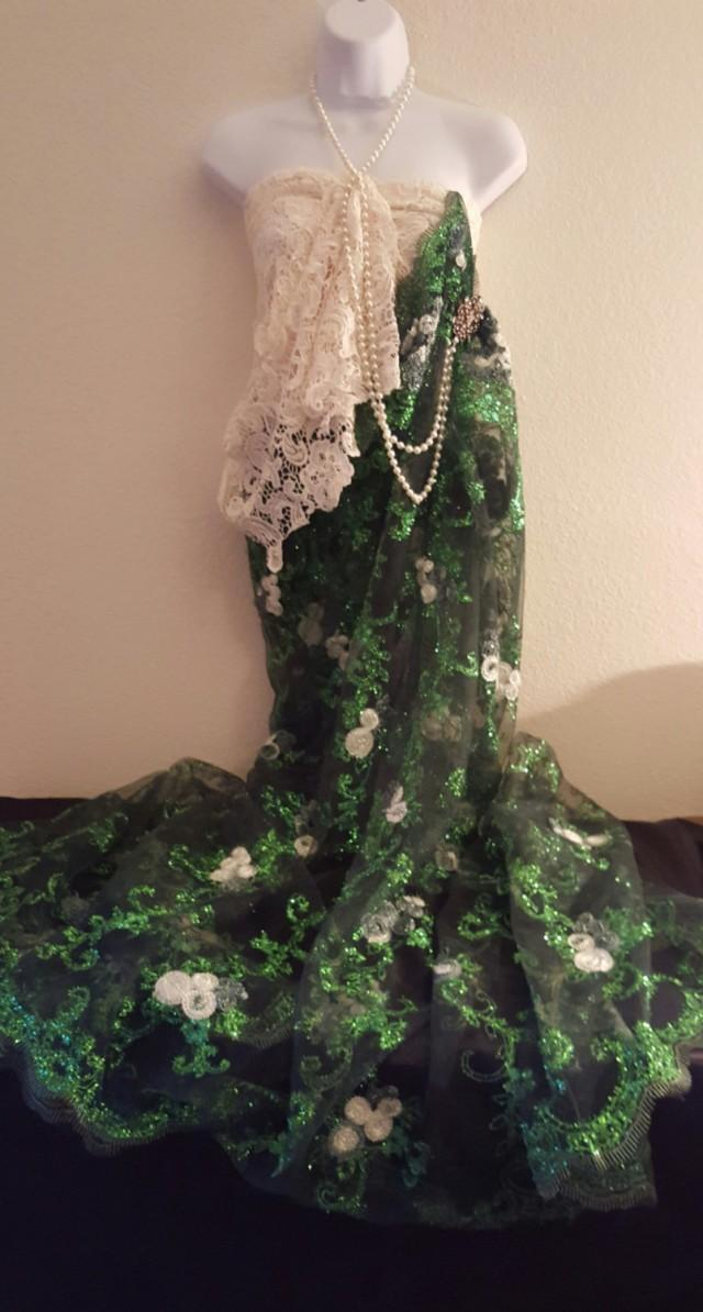 Sample gown 20 39 s inspired exotic indian green and ivory for Sari inspired wedding dress