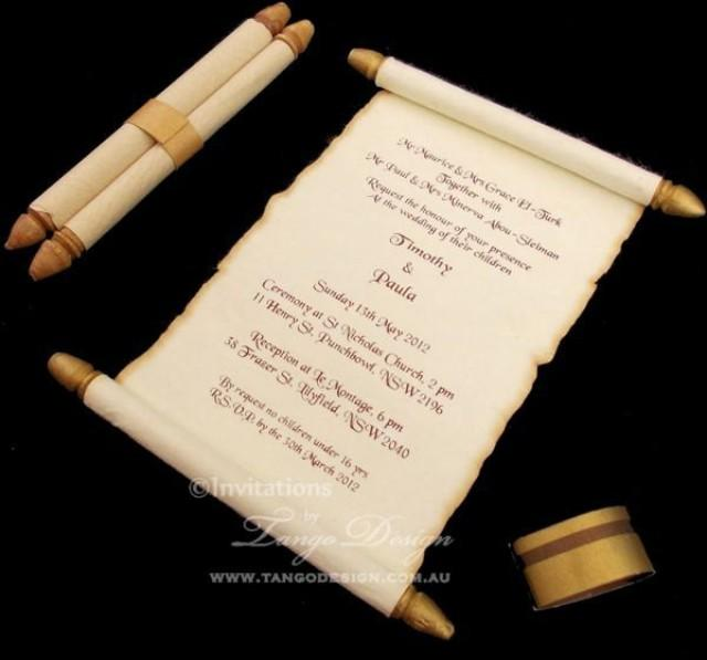 Burnt Edges Scroll Card Invitations X50 Wedding Scroll Card