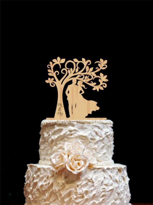 Rustic Wedding Cake Topper Personalized Monogram Cake Topper