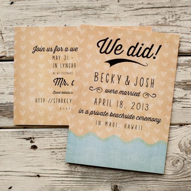 Wedding Elopement Ideas: Beach Wedding Announcement, Wedding Announcements