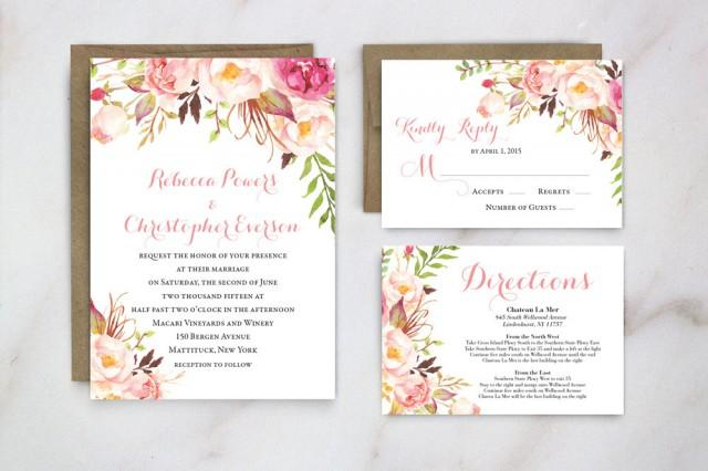 Garden Wedding Invitations: Spring Wedding Invitation, Floral Wedding Invite, Garden