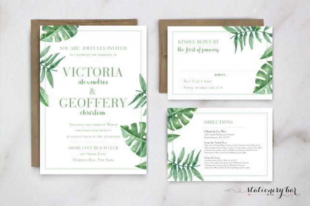 Palm Leaf Wedding Invitation Banana Leaf Invitation