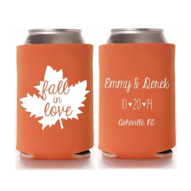 Personalized Can Coolers ~ Personalized fall in love rustic wedding favors