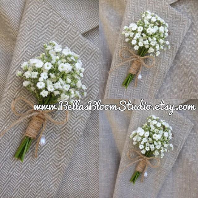 Wedding Flowers Men: Baby's Breath Boutonnieres, Mens