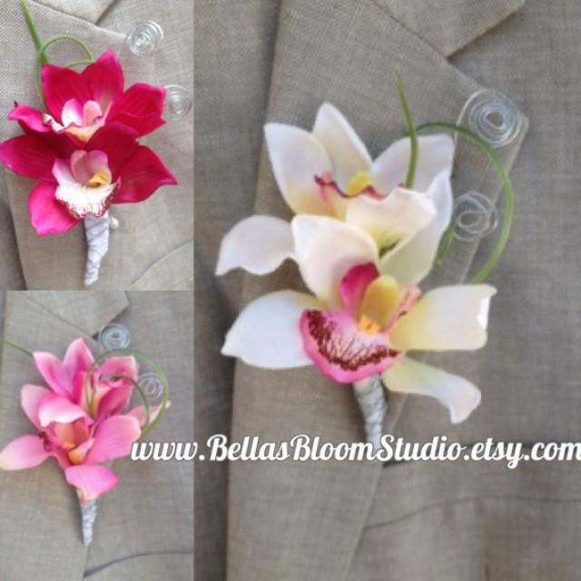 Tropical Boutonniere Orchid Beach Men S Lapel Pin White Prom Etsy