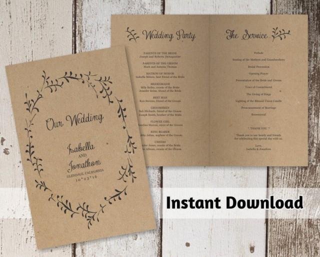 wedding photo - Printable Wedding Program Template - Rustic Foliage Winter Wreath on Kraft Paper