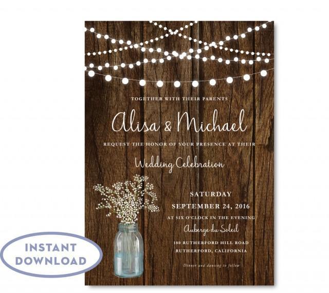 Rustic Babys Breath Wedding Invitation Instant Download