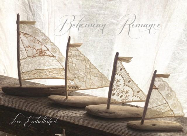 4 beautiful driftwood beach decor sailboats antique lace for Diy driftwood sailboat