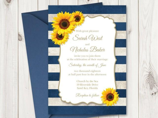 Sunflower Wedding Invitation Printable Template With Navy