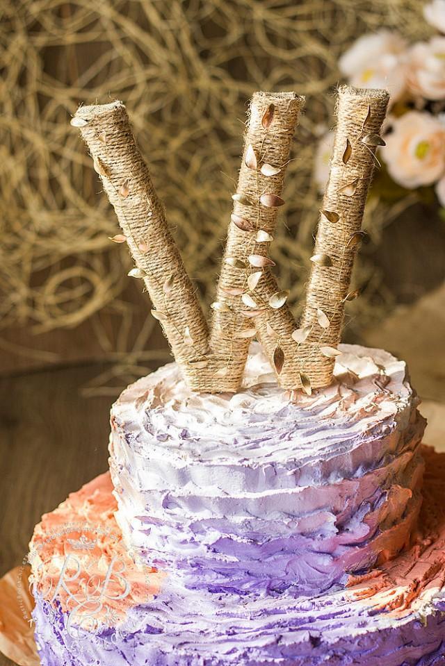 Rustic Wedding Cake Topper, Letter Cake Topper, Monogram ...