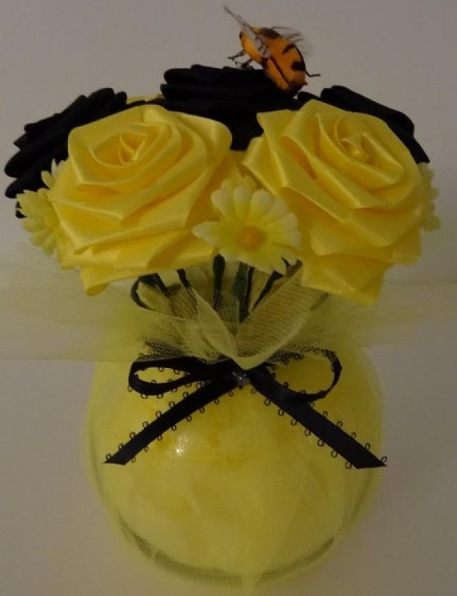 Bumblebee cutie pot ribbon flower centerpiece for wedding for Bee decorations for the home