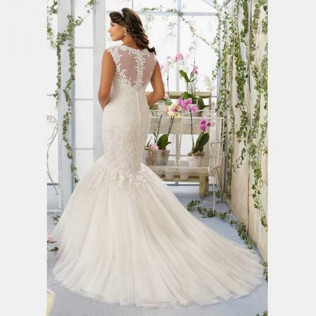 Cap sleeves appliques plus size mermaid wedding dress for Plus size mermaid wedding dresses with sleeves
