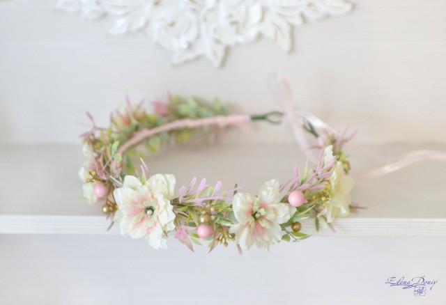 light pink gold wedding flower crown pastel flower halo cream pink wild flowers beads boho. Black Bedroom Furniture Sets. Home Design Ideas