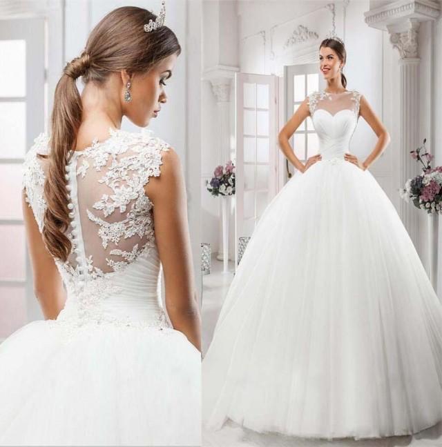 2016 Hot Selling Sexy Illusion Jewel Neckline Wedding Dresses