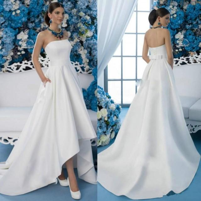 Shop Online Beach Wedding Dresses Cheap Wedding Dresses: Cheap 2016 High Low Wedding Dresses Garden Strapless Neck