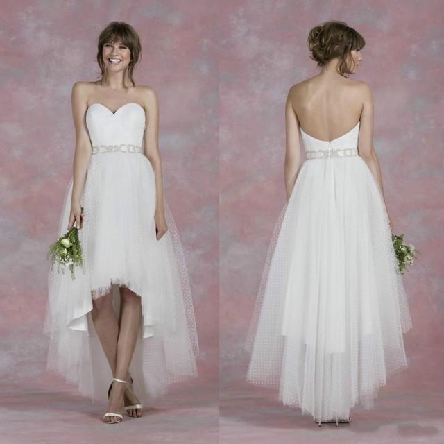 Spring beach high low wedding dresses 2016 sleeveless for High low wedding dresses cheap