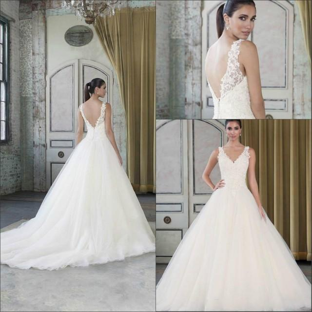 Elegant 2016 Lace V Neck Long Wedding Dresses Applique Cheap Tulle Beaded Sleeveless A Line