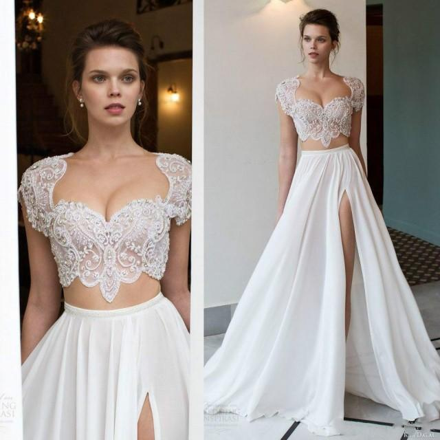 Cheap 2 Piece Wedding Dresses: Sexy Two Pieces Wedding Dresses Scoop Neck Side Split Lace