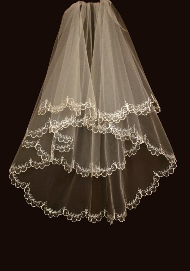 Bridal veil hadley wedding with embroidery