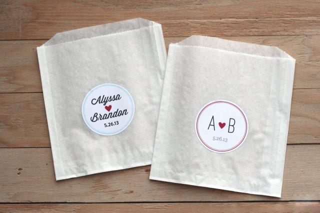 25 Personalized Wedding Stickers Favor Bags Custom