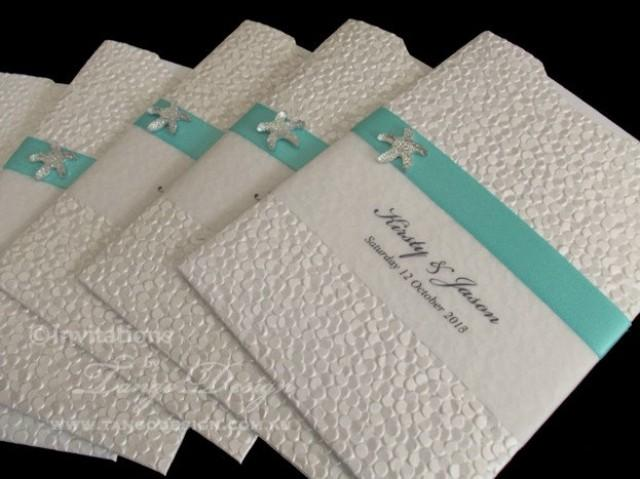 Beach Wedding Invitations X24 With Starfish And Rsvp Insert Card – Handmade Beach Wedding Invitations