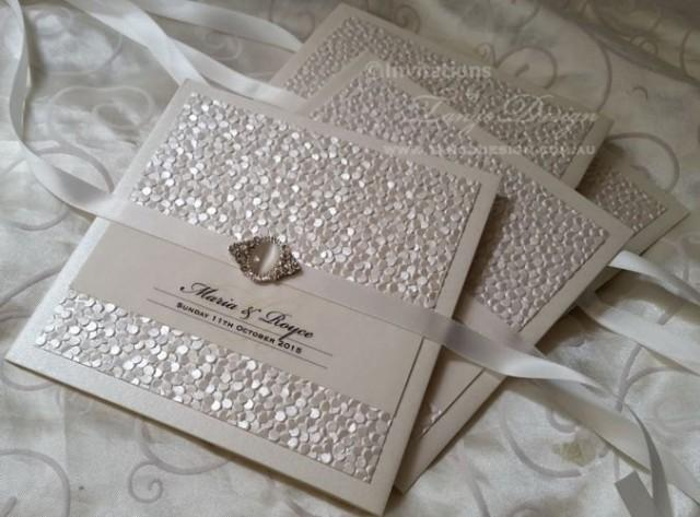 Vintage Wedding Invitations With Pearl Crystal - Luxury ...