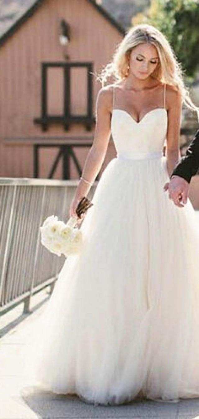 simple spaghetti straps layers tulle ball gown wedding