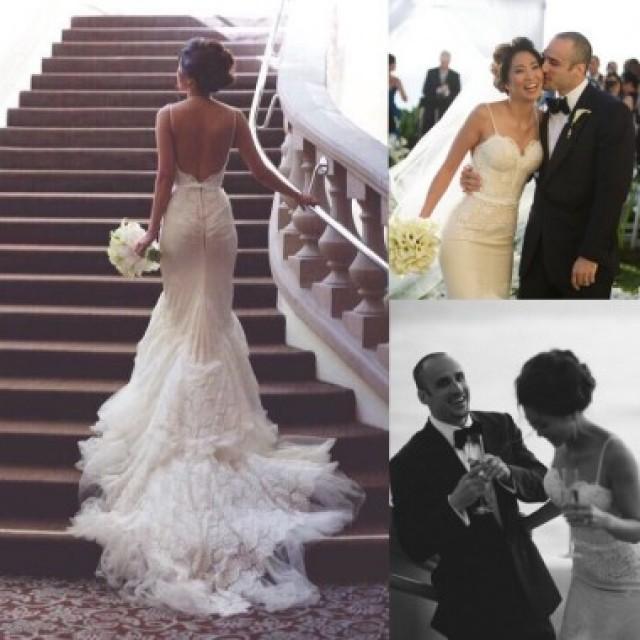 wedding photo - Sexy Spaghetti Straps Backless Mermaid Wedding Dresses Low Cut Back