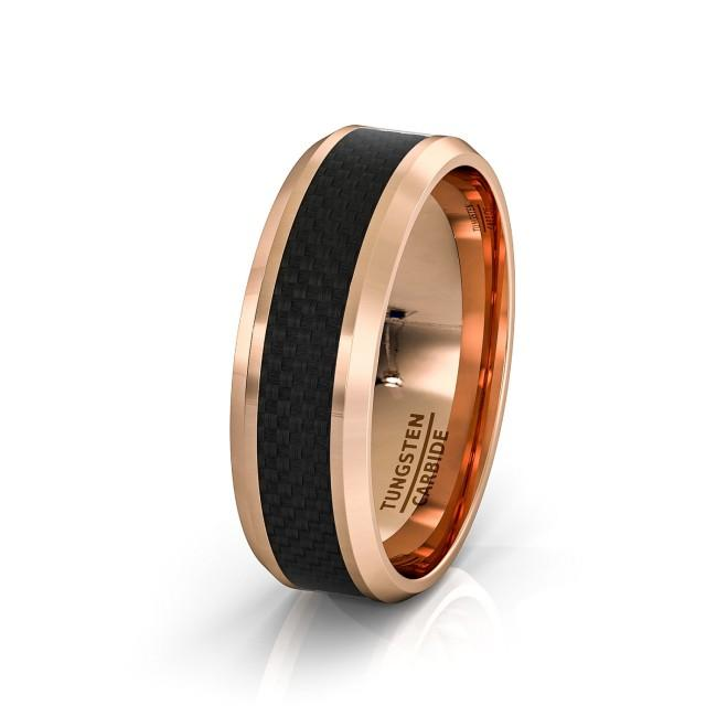 Mens Wedding Band 8mm Rose Gold Tungsten Ring Polished Black Carbon Fiber Surface Beveled Edges