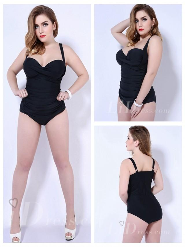 wedding photo - Black Solid Color One-Piece Plus Size Womens Swimsuit With Fold Adornment Lidyy1605202056
