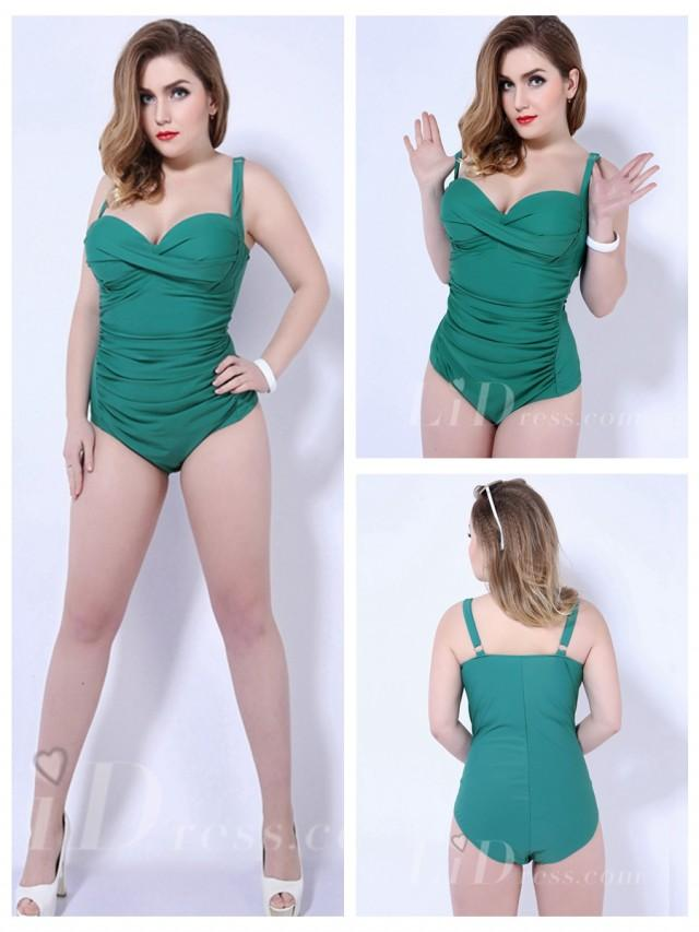 wedding photo - Green Solid Color One-Piece Plus Size Womens Swimsuit With Fold Adornment Lidyy1605202055