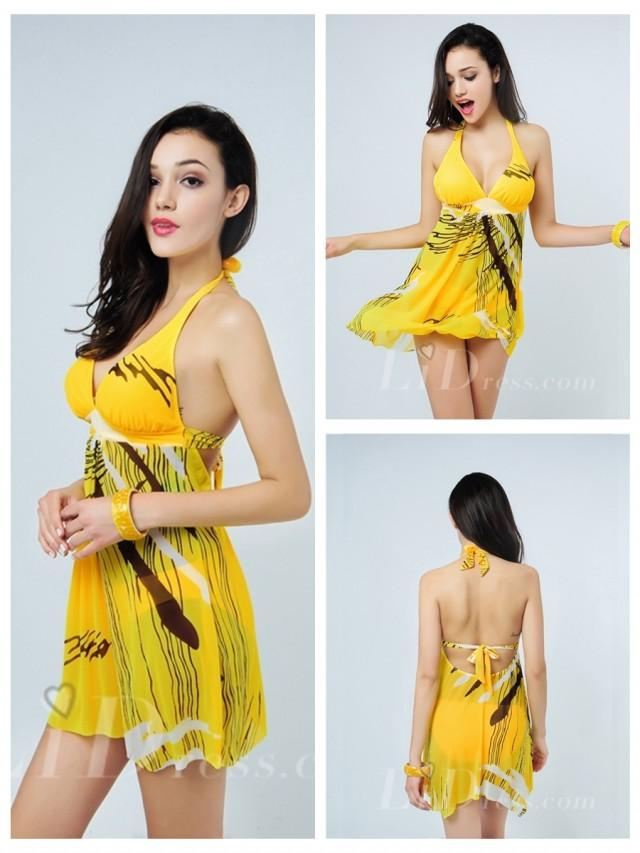 wedding photo - Yellow Plus Size Two-Pieces Colorful Print Womens Swimsuit With Skirt Lidyy1605241001