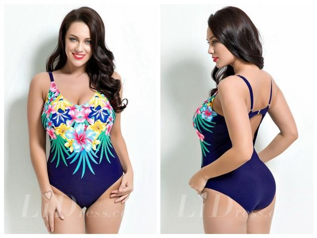 wedding photo - Flower Print One-Piece Plus Size Swimsuit Lidyy1605201022