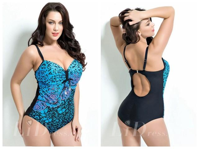 wedding photo - Floral Print Plus Size Swimwear Lidyy1605201004