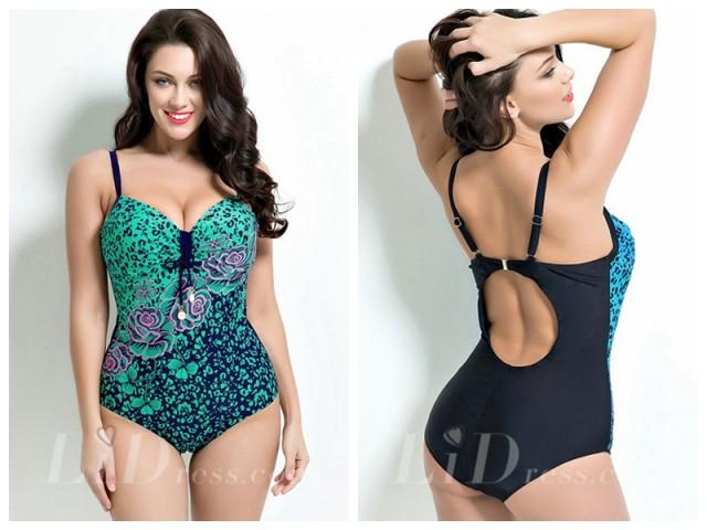 wedding photo - Floral Print Plus Size Swimwear Lidyy1605201002