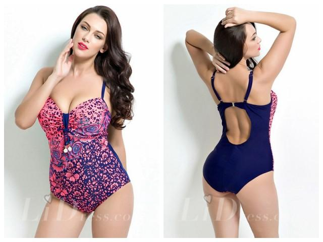 wedding photo - Floral Print Plus Size Swimwear Lidyy1605201001
