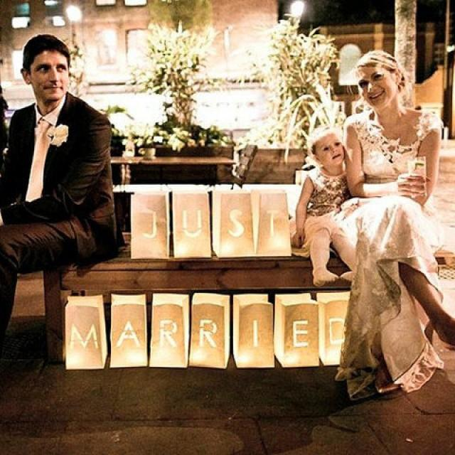 Just married wedding table decor luminary bags just for Just married dekoration