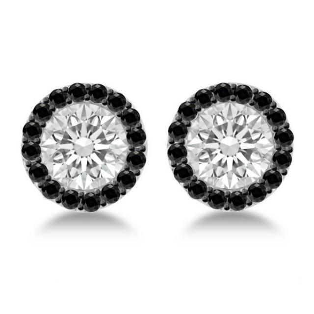 wedding photo - 1 Carat Forever One Moissanite & Black Diamond Stud Earrings - Moissanite Earrings