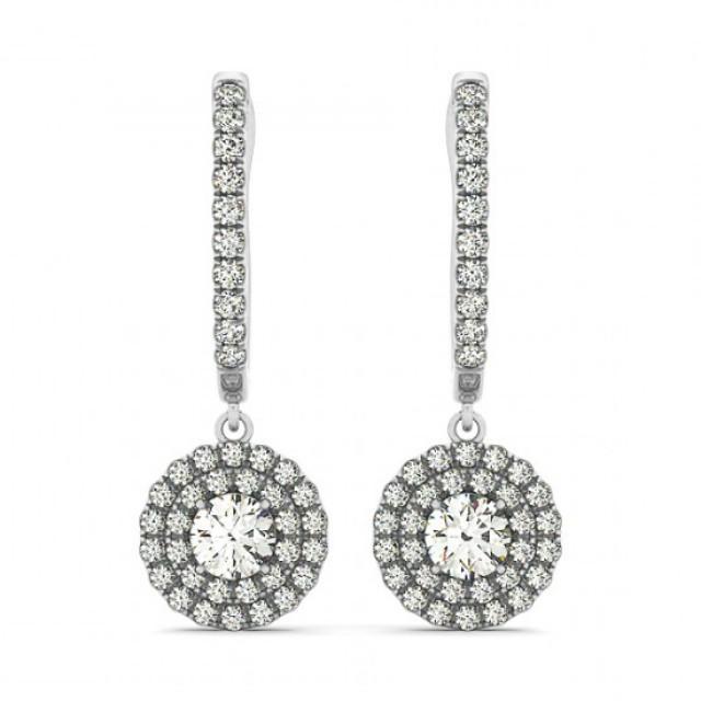 wedding photo - 1 Carat Forever One Moissanite & Diamond Dangle Earrings - Moissanite Earrings for Women 14k