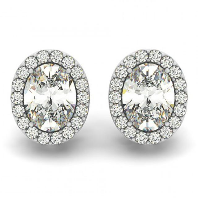 wedding photo - Michael Raven Jewelry - 2 carat Oval Forever One Moissanite & Diamond Halo Stud Earrings - Moissanite Earrings